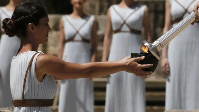 The flame was lit during a ceremony in Greece