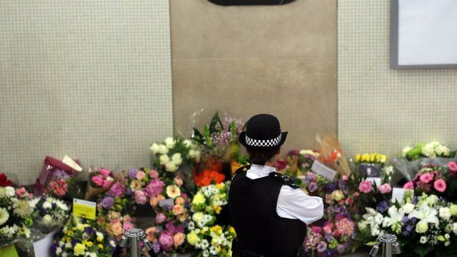 Flowers at Kings Cross Underground station to remember 7/7 victims