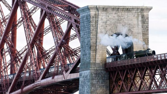 The Flying Scotsman on the Forth Bridge