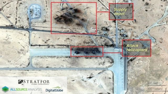 Satellite images of the attack from US company Stratfor