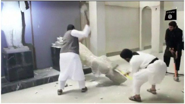 So-called Islamic State militants damage artefacts