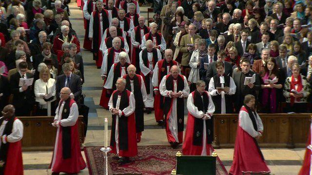 Bishop's walking in an Anglican Church
