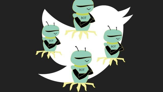 Illustration shows a representation of bots layered over the Twitter logo.