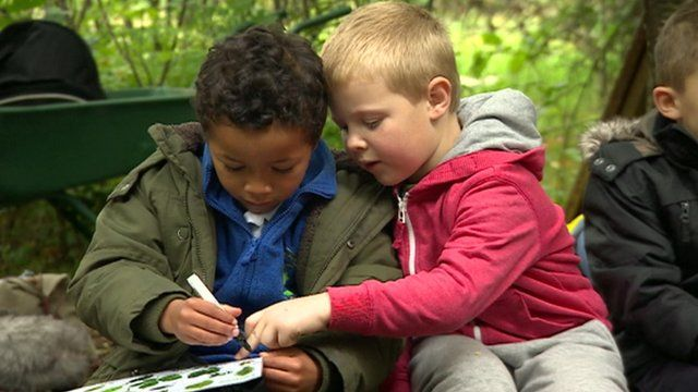 Two kids learning about trees