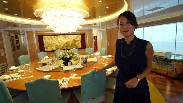 Leisha Chi aboard luxury yacht