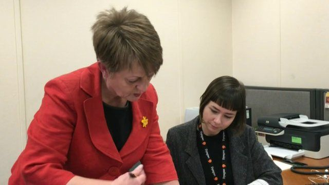Jocelyn Davies in her office at the Welsh assembly