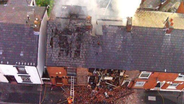 Suspected gas explosion at a house in Greater Manchester