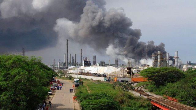 Smoke rises from the site of the blast in Veracruz