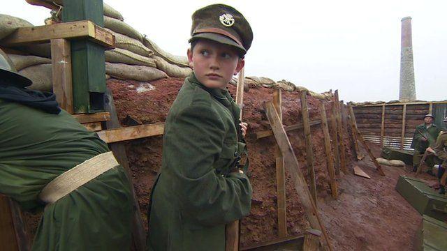 Boy taking part in WW1 re-enactment