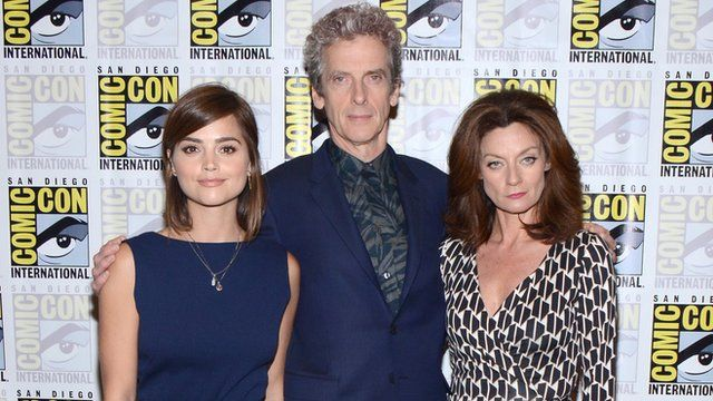 Peter Capaldi, Jenna Coleman and Michelle Gomez at San Diego Comic Con