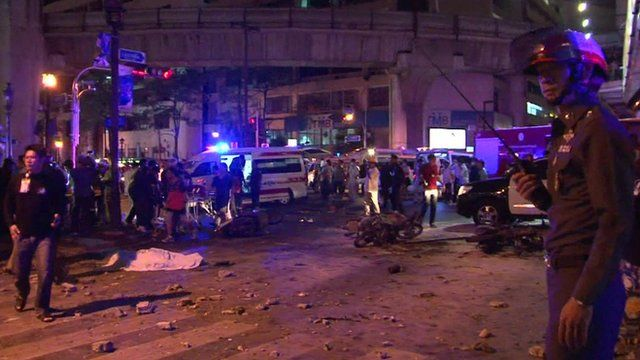Aftermath of bomb explosion in Bangkok