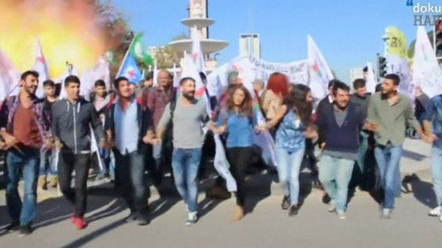 Moment of blast in Ankara, Turkey