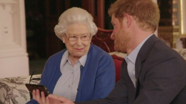 Queen with Prince Harry