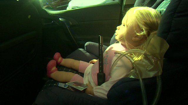 A doll with air particle sensors nearby was used to conduct tests