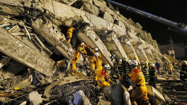 Strong earthquake topples buildings in Taiwan