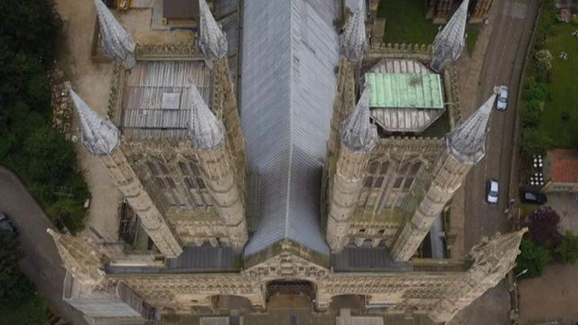 A view of Lincoln Cathedral from the air