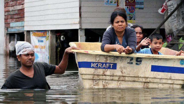 Some villages in the south of Thailand are partially submerged due to flooding