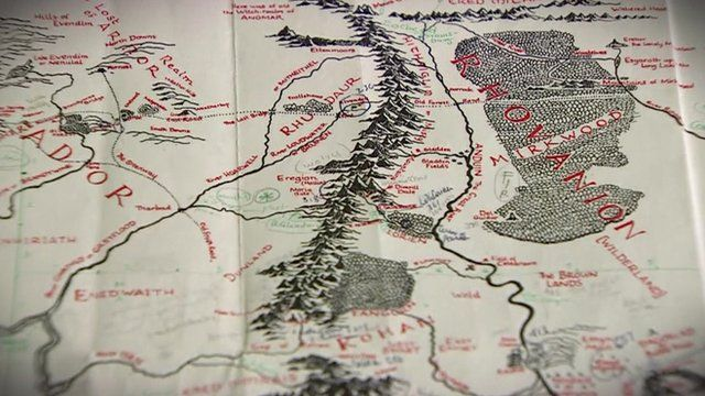 JRR Tolkien Lord of the Rings Middleearth unveiled BBC News – Lord of the Rings Map Middle Earth