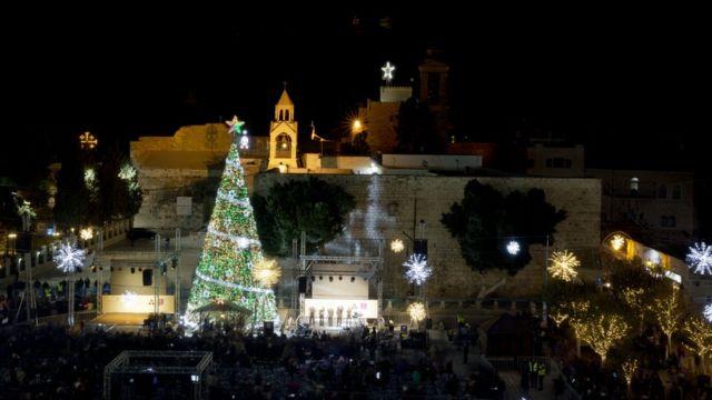 Christmas lights switched on in Bethlehem - CBBC Newsround