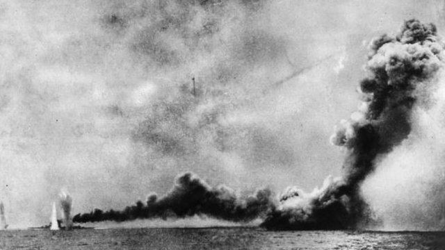 HMS Lion (left) was shelled and HMS Queen Mary (right) was blown up by German shells during the Battle of Jutland