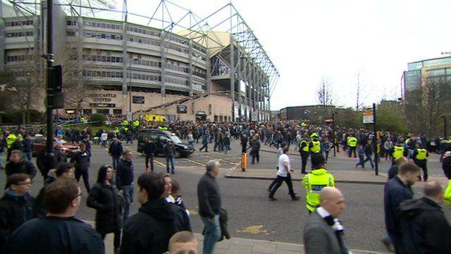 Fans leaving St James' Park