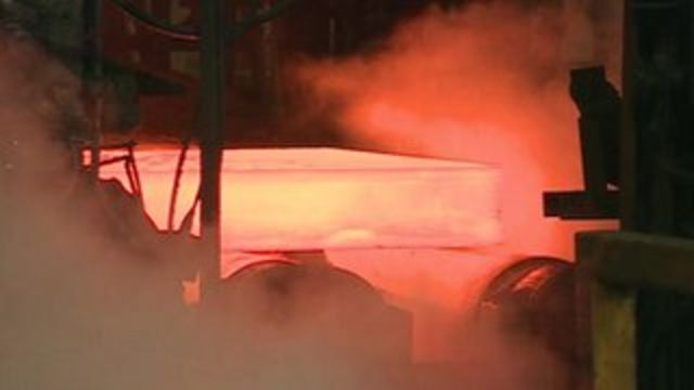 Hot metal being manufactured inside steelworks
