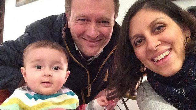Nazanin Zaghari-Ratcliffe with her husband and daughter