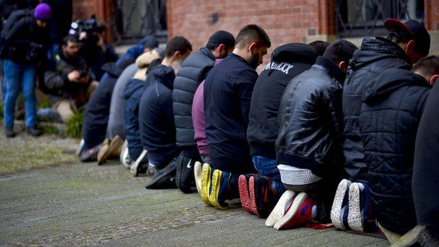 Salafist supporters praying in Germany - file pic