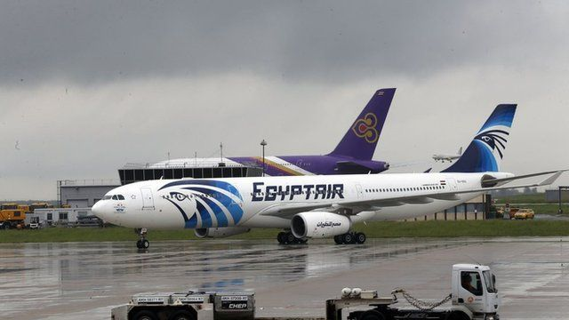 This picture taken on May 19, 2016, shows an Egyptair Airbus A330 from Cairo taxiing at the Roissy-Charles De Gaulle airport near Paris after its landing a few hours after the MS804 Egyptair flight went missing.