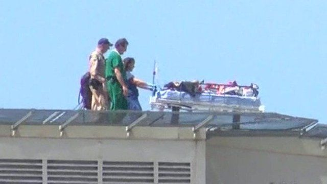Rescued hiker on stretcher