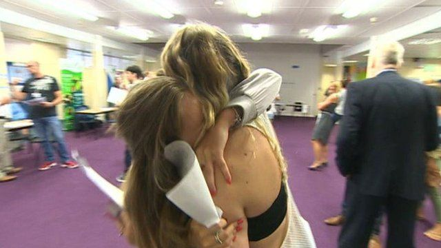 Pupils celebrate their results at Eastern High