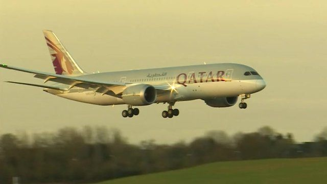 Arrival of Qatar airline at Birmingham Airport