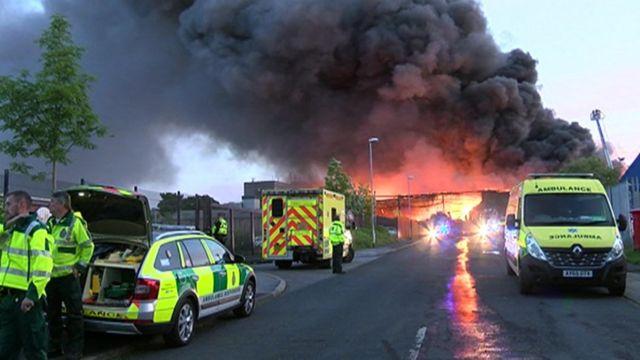 A fire in Bramley, Leeds.