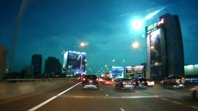 Rare meteor fireball in Bangkok, Thailand.