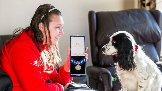 Molly the cocker spaniel receives her award