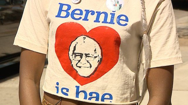 A young woman in New York showing her support for Bernie Sanders