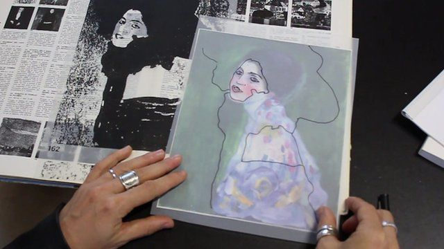 Tracing paper over the painting