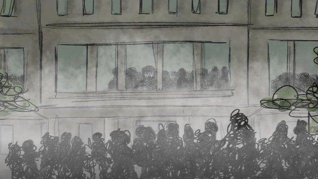 Image of people outside a university