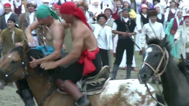 Horseback wrestling