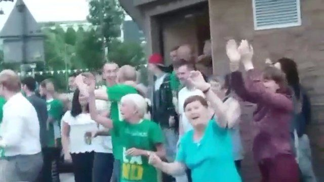 Celebrations of the Republic of Ireland's 1-0 win over Italy