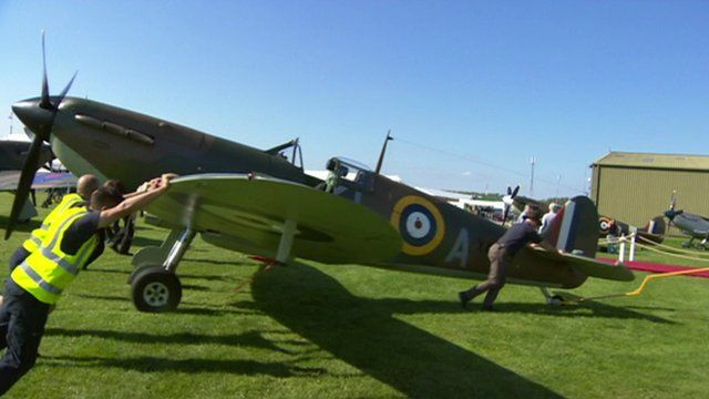 A plane taking part in commemorations