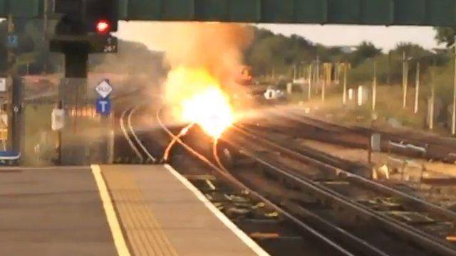 Fire on railway near Gatwick