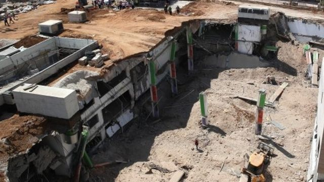 View of the collapsed car park from above
