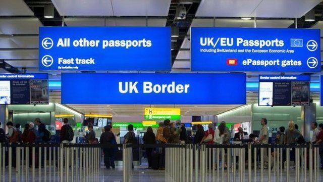 UK passport control sign