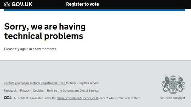Registration website error message