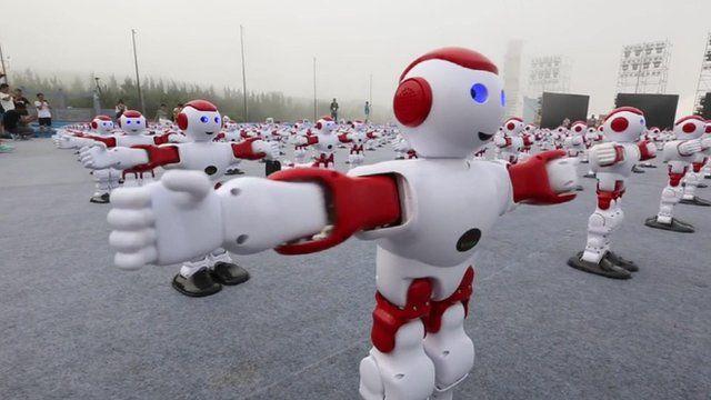 A robot programmed to dance
