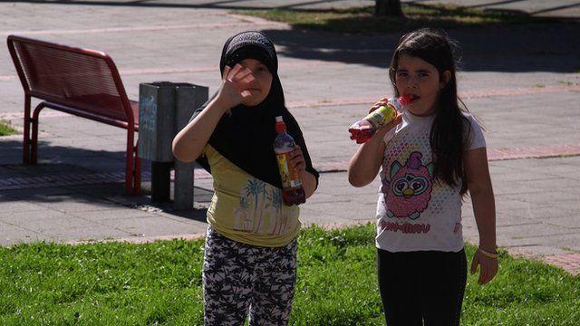 Refugee girls in Rostock, Germany