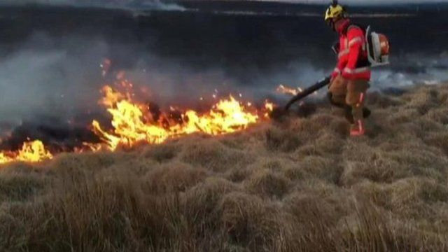 Firefighters tackle moorland fires in Darwen