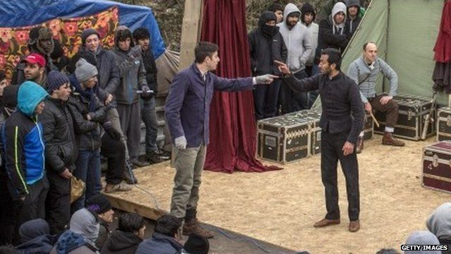 Hamlet performed in Calais' 'Jungle'
