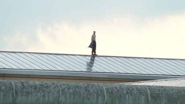 Prisoner on the roof of Garth prison in Lancashire